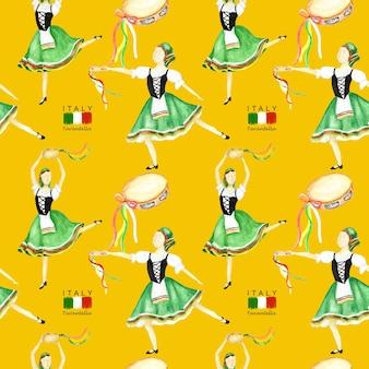 Modello senza cuciture ballerini in costume nazionale verde una tarantella italiana con un tamburello su sfondo giallo. ballerino della donna in costume piega italia. trama del tessuto ad acquerello