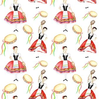 Modello senza cuciture ballerini in costume nazionale rosso una tarantella italiana con un tamburello su sfondo bianco. ballerino della donna in costume piega italia. trama del tessuto ad acquerello