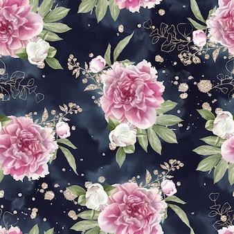 Modello senza cuciture delle rose delicate dei fiori. illustrazione ad acquerello
