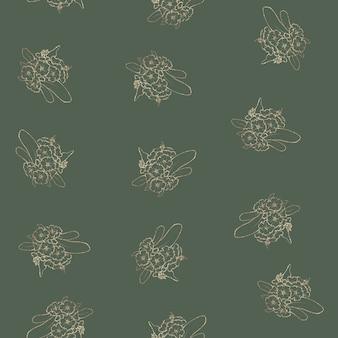 Modello senza soluzione di continuità. contorni dorati di fiori e foglie primaverili.