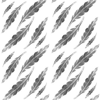 Modello senza giunture di foglie grigie su sfondo bianco