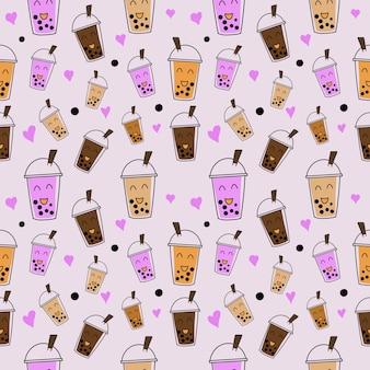 Modello senza cuciture illustrazione cartone animato carino ghiaccio latte tè bolla e boba nella tazza, carta da parati e sfondo
