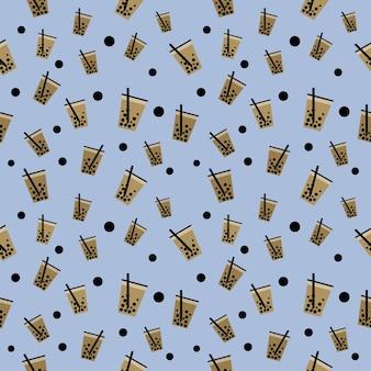 Modello senza cuciture illustrazione bolla di tè al latte ghiacciato e boba nella tazza, carta da parati e sfondo