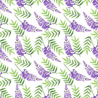 Modello senza giunture di viola fiori selvatici su sfondo bianco
