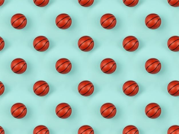 Modello senza cuciture di piccola palla arancione per il gioco di sport di basket su sfondo blu.