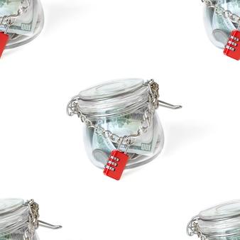 Modello senza cuciture banconote da un dollaro usa nel barattolo di vetro, bloccato dalla chiave catena e master. soldi in pentola