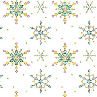 Modello senza cuciture fiocco di neve di cristallo di natale dell'acquerello. bellissimi colori vivaci medaglione gioielli, spilla, decorazione sul collo. brillanti alla moda, strass applicati. trama del tessuto di capodanno