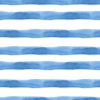 Modello senza cuciture modello acquerello sfondo strisce blu