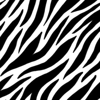 Modello senza cuciture con tratti neri astratti su bianco. imitazione della pelle di animale di zebra. texture per stampa, tessuto, tessuto, carta da parati.