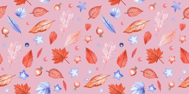 Modello senza cuciture con foglie autunnali e bacche di rosa canina su sfondo rosa. illustrazione dell'acquerello dipinto a mano.