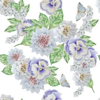 Modello senza cuciture con bellissimi fiori e farfalle