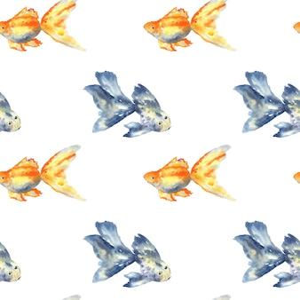 Modello senza cuciture con pesce azzurro con grande pinna e pesce rosso