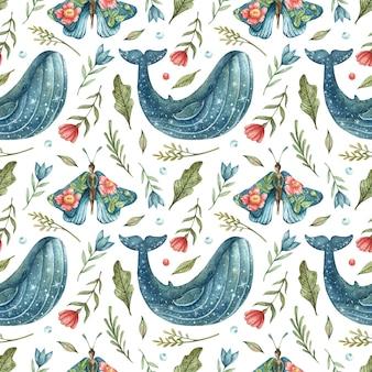 Modello senza cuciture con una balena blu stelle e farfalle blu-ragazze con fiori sulle ali disegnati a mano