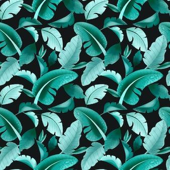 Modello senza cuciture con grandi foglie tropicali luminose su uno sfondo scuro