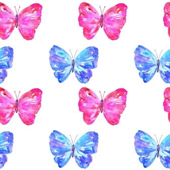 Modello senza cuciture con farfalle colorate blu e rosa.