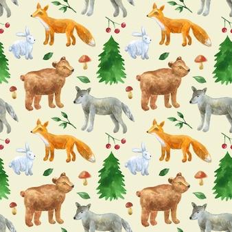Modello senza cuciture con simpatici animali della foresta: lupo, orso, volpe, lepre. illustrazione dell'acquerello disegnato a mano. texture per stampa, tessuto, tessuto, carta da parati.