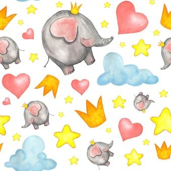 Modello senza cuciture con elefanti, stelle, nuvole e cuori.