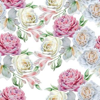 Modello senza saldatura con fiori. alstroemeria. rosa. giglio. acquerello. disegnato a mano.