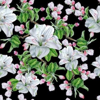 Modello senza saldatura con fiori. fiorire. alstroemeria. illustrazione dell'acquerello. disegnato a mano.