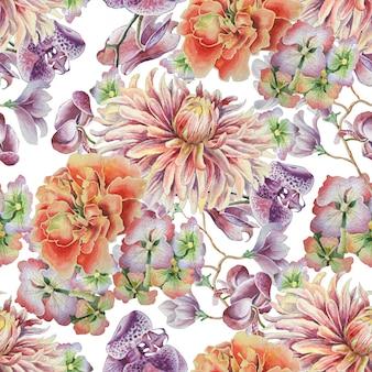 Modello senza saldatura con fiori. dalia. calendula. orchidea. illustrazione dell'acquerello. disegnato a mano.