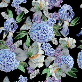 Modello senza cuciture con fiori iris alstroemeria hydrangea butterflies