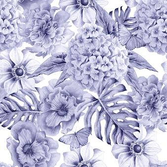 Modello senza saldatura con fiori. monstera. anemone. pansies. hudrangeya. illustrazione dell'acquerello. disegnato a mano.