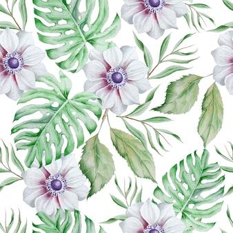 Modello senza saldatura con fiori. monstera. anemone. illustrazione dell'acquerello. disegnato a mano.