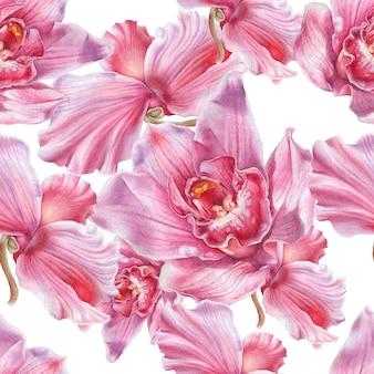 Modello senza saldatura con fiori. orchidea. ciclamino. illustrazione dell'acquerello. disegnato a mano.