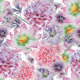 Modello senza saldatura con fiori. peonia. loto. petunia. illustrazione dell'acquerello. disegnato a mano.