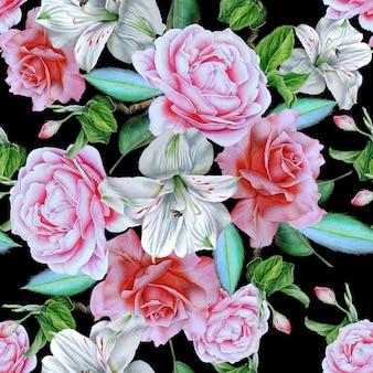 Modello senza saldatura con fiori. rosa. alstroemeria. illustrazione dell'acquerello. disegnato a mano.