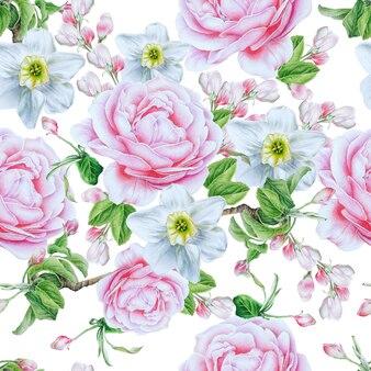 Modello senza saldatura con fiori. rosa. narciso. illustrazione dell'acquerello. disegnato a mano.