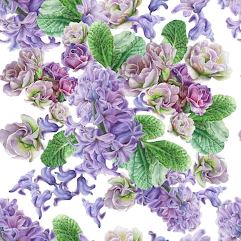 Modello senza saldatura con fiori. viola. giacinto. illustrazione dell'acquerello. disegnato a mano.