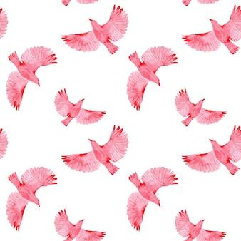 Modello senza cuciture con uccelli in volo su sfondo bianco