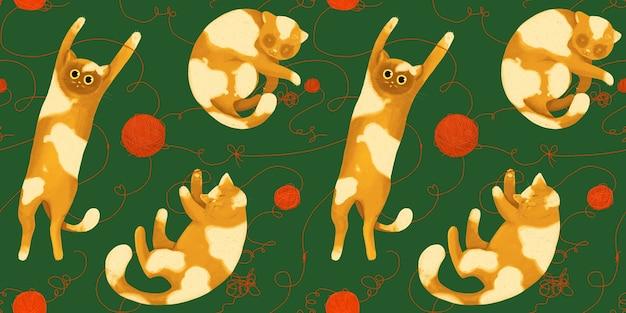 Modello senza cuciture con gatti divertenti con gomitoli di lana. disegno a mano in stile cartone animato.