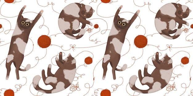 Modello senza cuciture con gatti divertenti con gomitoli di lana. gatti che giocano e dormono.
