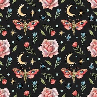 Modello senza soluzione di continuità con l'immagine di fiori, farfalle rosse, ragazze, rose, la luna e le stelle