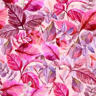 Modello senza saldatura con foglie illustrazione ad acquerello