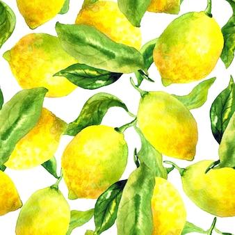 Modello senza cuciture con limoni e foglie. illustrazione dell'acquerello disegnato a mano. texture per stampa, tessuto, tessuto, carta da parati.