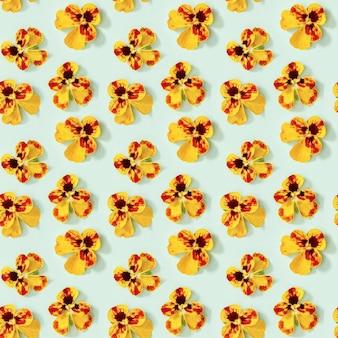Modello senza saldatura con cuori di fiori naturali sbocciano i fiori piccoli boccioli fioriti luminosi di viola del pensiero di fiori