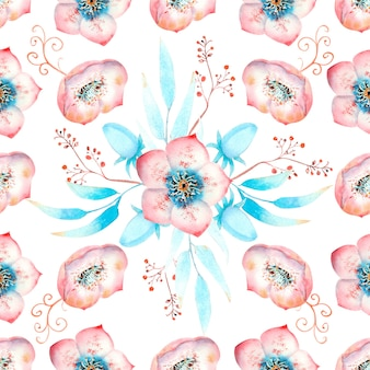 Modello senza cuciture con fiori di elleboro rosa, boccioli, foglie, ramoscelli decorativi su bianco isolato. illustrazione ad acquerello, fatta a mano.