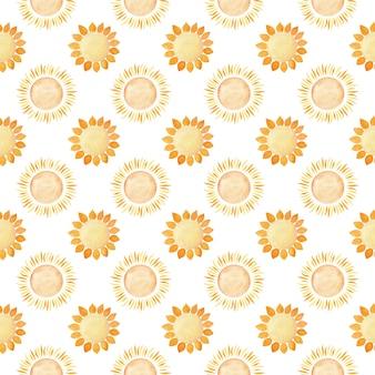 Modello senza soluzione di continuità con il sole. illustrazione dell'acquerello. tempo soleggiato. previsione.