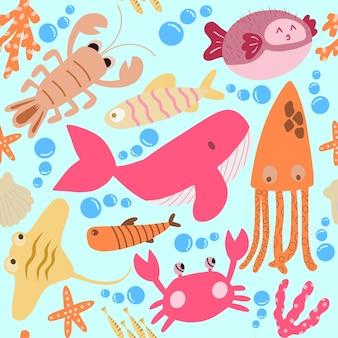 Modello senza cuciture con animali sottomarini: polpi, balene, granchi, aragoste, cavallucci marini, calamari. texture ripetuta con personaggi dei cartoni animati.
