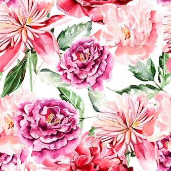 Modello senza saldatura con fiori ad acquerelli. peonie. illustrazione