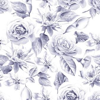 Modello senza cuciture con rose dell'acquerello