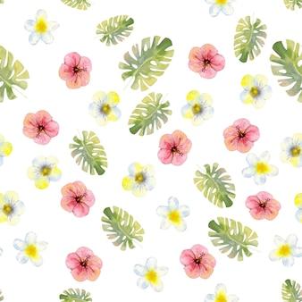 Modello senza cuciture con fiori e foglie tropicali dell'acquerello