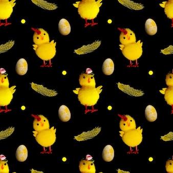 Modello senza cuciture di pulcini gialli con piume isolate su sfondo nero. foto di alta qualità