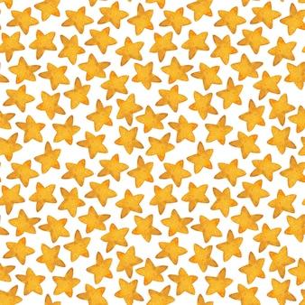 Modello senza cuciture della stella gialla. illustrazione ad acquerello