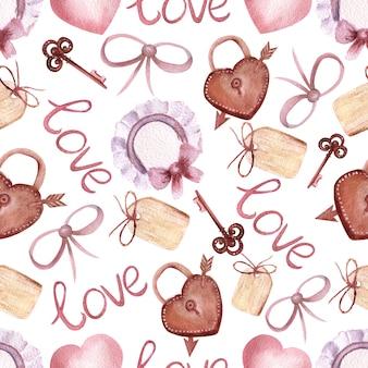 Modelli senza cuciture con la scritta amore, cuori, tag, serrature e chiavi in stile boho su sfondo bianco isolato. illustrazione dell'acquerello.