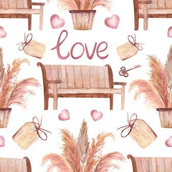 Modelli senza cuciture con erba di pampa in vasi, panchine, l'iscrizione amore, un tag e una chiave in stile boho su uno sfondo bianco isolato. illustrazione dell'acquerello.