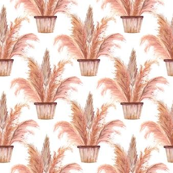 Modelli senza cuciture con erba di pampa in vasi in stile boho su sfondo bianco isolato. illustrazione dell'acquerello.
